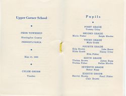 Upper Corner School Class List 1949