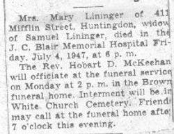Lininger, Mary 1947