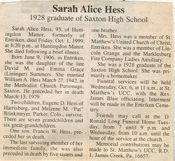 Hess, Sarah Alice Summers 1999