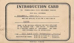George Kenawell Baker Introduction Card