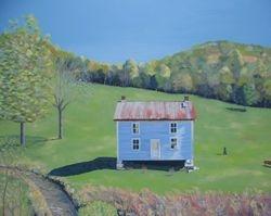 Blue House ,oil/panel,  26 x 31 3/4