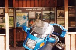 Tom's K75RT at the most southly point that you can drive in Australia after the 1996 AGM Hobart - Mar 1996