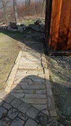 Stone walkway to the sauna