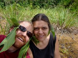JB Leca and Noëlle Gunst scrupulously following Gabonese people's advice about mosquito-repellent headbands at Ivindo National Park, Gabon (May 2008)