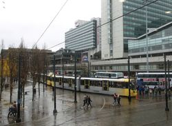 M5000s runnung in tandem through Piccadilly Gardens
