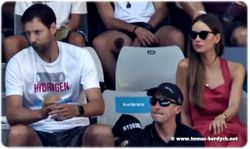 Coach Martin Stepanek and Tomas Berdych's wife, Ester Satorova