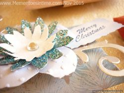 Frayed Floral Decorated Pillow Box Blue and Silver