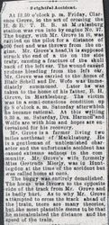 Grove, Clarence accident article