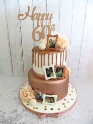 60th Birthday cake in rose gold and white