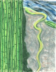 Breathing In Little Park, Oil Pastel, 11x14, Original Sold