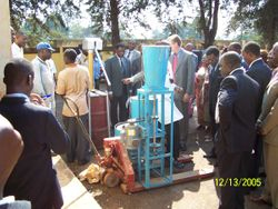 Ambassador observes the 100kg per hour Ndole machine in action