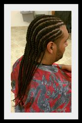 Straight Back Corn Row Braids with Natural hair