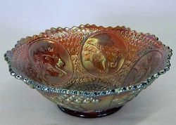 Horse Medallion round bowl, red