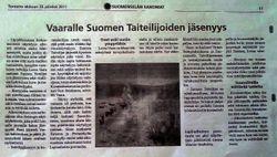 Newspaper Suomenselkä 25.08.2011