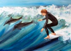 Surfer & Dolphins