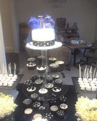 Sweet 16 Black & White Cupcake Tower