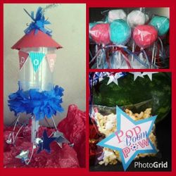 4th of July custom push pops, fluff pops and popcorn favors