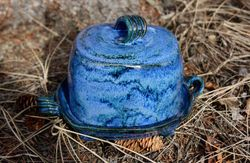 "Butter Dish for 1/2 Block of Butter ~ ""Blues"""