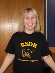 Julia Prestbury from the United Kingdom wearing a RSDR T-shirt proudly at her work.