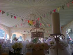 Vintage and bunting wedding marquee