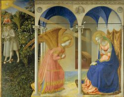 Fra Angelico, Annunciation, 1443-5, painted for a Dominican convent church in Fiesole, now in the Prado