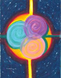 Intersection and Convergence Mandala, Oil Pastel, 11x14, Original Sold
