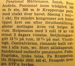 Pensionat Martensson 1960