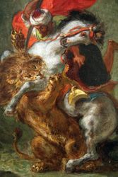 Delacroix, Arab Horseman Attacked by a Lion, c1850, Chicago