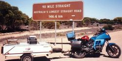Tom's K75RT & Camper Trailer at the Eastern end of the Ninety Mile Straight on the way to the 1998 AGM Bunbury - Mar 1998