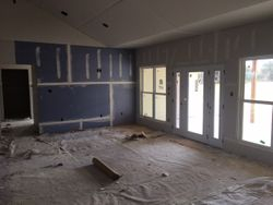 purple wall is quiet rock--great soundproof drywall