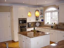 Kitchen Refinish from Pickeled Maple to Antique White Lacquer