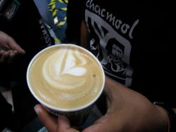Some latte art, produced by one of the stands