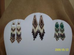 Traditional Style Earrings, Stacked Bugle Seed Bead Earrings with Red Bay Labrador Porcupine Quills (center)
