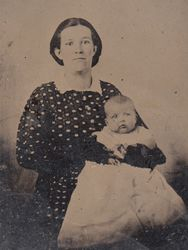 uncased 1/6 plate  tintype of unidentified woman and infant