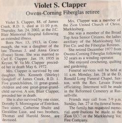 Clapper, Violet Stone 2002