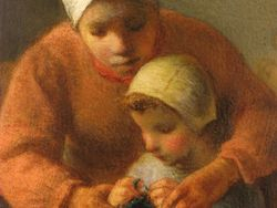 Chardin, Mother and Child, detail, Clark Institute
