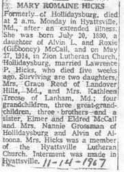 Hicks, Mary McCall 1967
