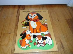 Fisher Price 1972 Dog & Puppies Wood Puzzle - $10