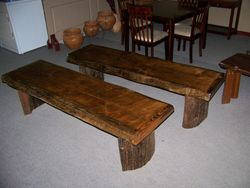 These are matching benches from Douglas Fir Table