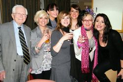 David Croft and Su Pollard with the girls from Hi-de-Hi