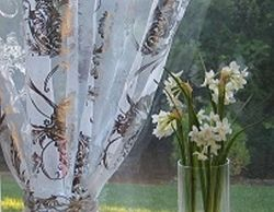 Silver  Metallic Foil Floral Embroidery Organza Sheer Curtains Rod Pocket 54WX84L