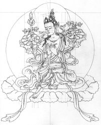 Line drawing of Mahabodhisattva Manjushri