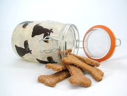 Cream and Brown Dog Biscuit Jar