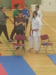 Sensei Ash talking to coach Joe!