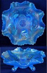 Horse Medallion ftd ruffled bowl, celeste blue
