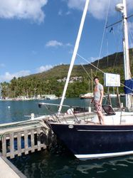 Filling up with fuel and water in Marigot Bay