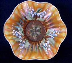 (Enameled) Lily of the Valley on Dugan Stippled Flower ruffled bowl, peach opal
