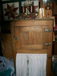 antique oak ice box refridgerator box