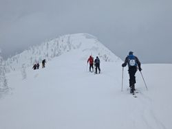 Skinning up Cornice Mountain