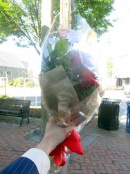 Bouquet of Flowers for Lying in Repose of Associate Supreme Court Justice Ruth Bader Ginsburg Outside Republic Seafood Restaurant